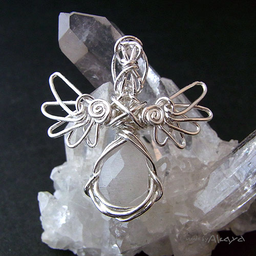 画像1: 天使のペンダント ホワイトルチルクォーツ