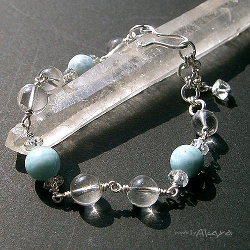 画像1: ブレスレット ラリマーとヒマラヤ水晶