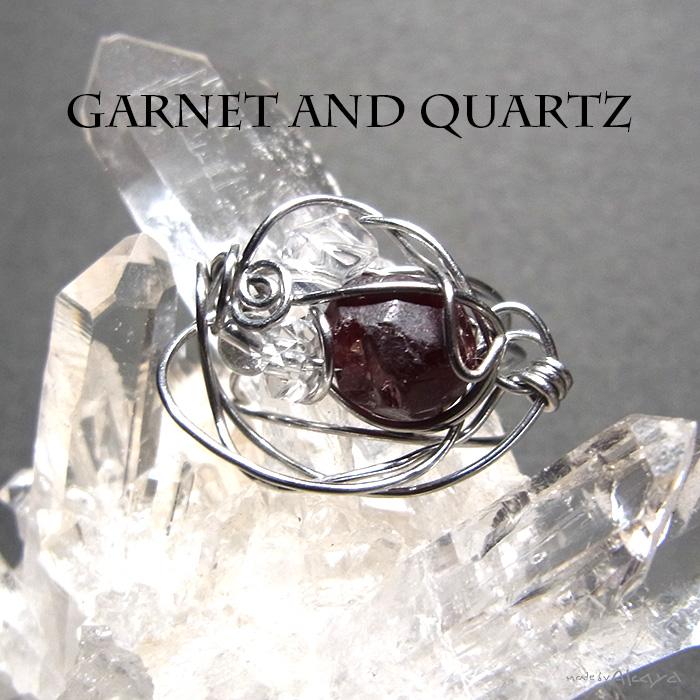 画像1: チャームリング ガーネットと水晶 (1)