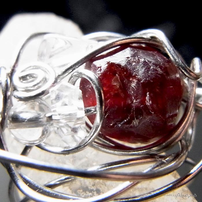 画像2: チャームリング ガーネットと水晶 (2)